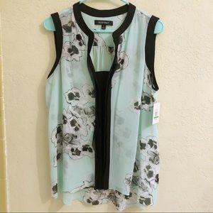 Ellen Tracy Mint, Black & White Chiffon Floral Top